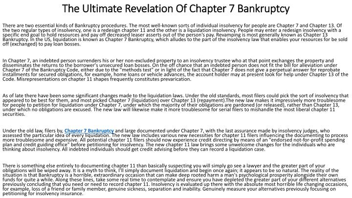 the ultimate revelation of chapter 7 bankruptcy n.