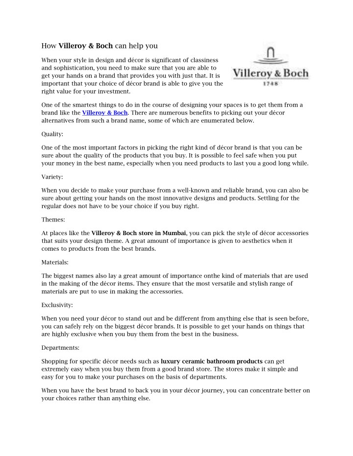 how villeroy boch can help you n.