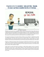 factors to consider about the junk removal