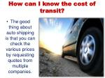 how can i know the cost of transit
