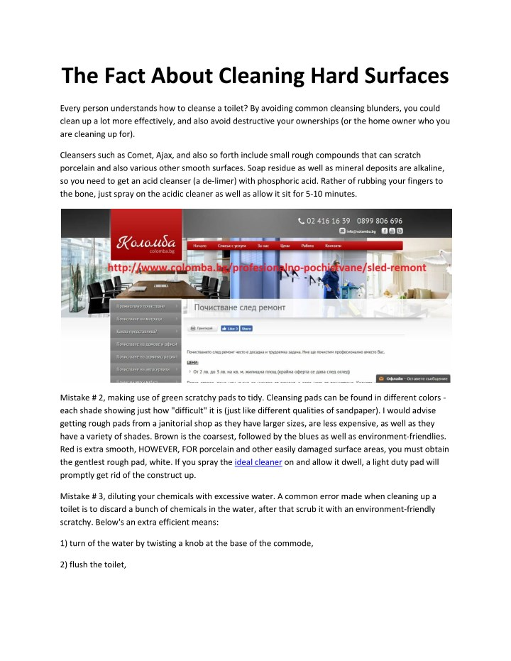 the fact about cleaning hard surfaces n.