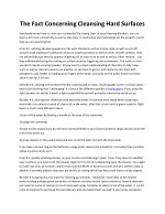 the fact concerning cleansing hard surfaces