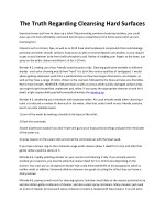 the truth regarding cleansing hard surfaces