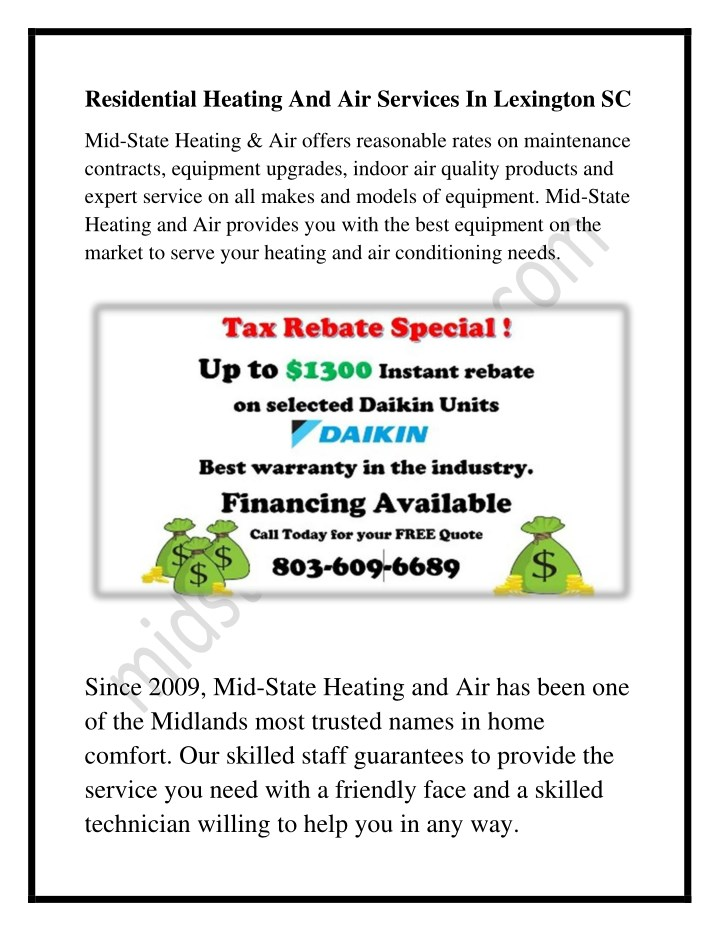 residential heating and air services in lexington n.