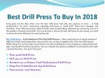 best drill press to buy in 2018