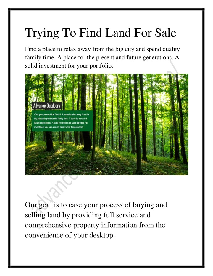 trying to find land for sale n.