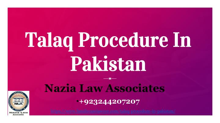 talaq procedure in pakistan n.