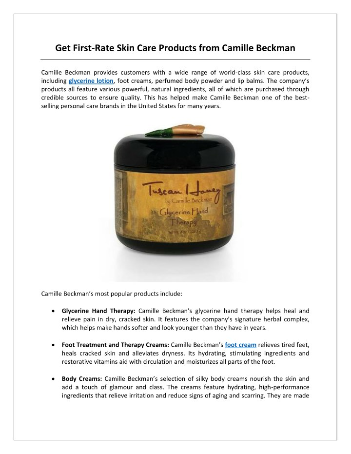 get first rate skin care products from camille n.