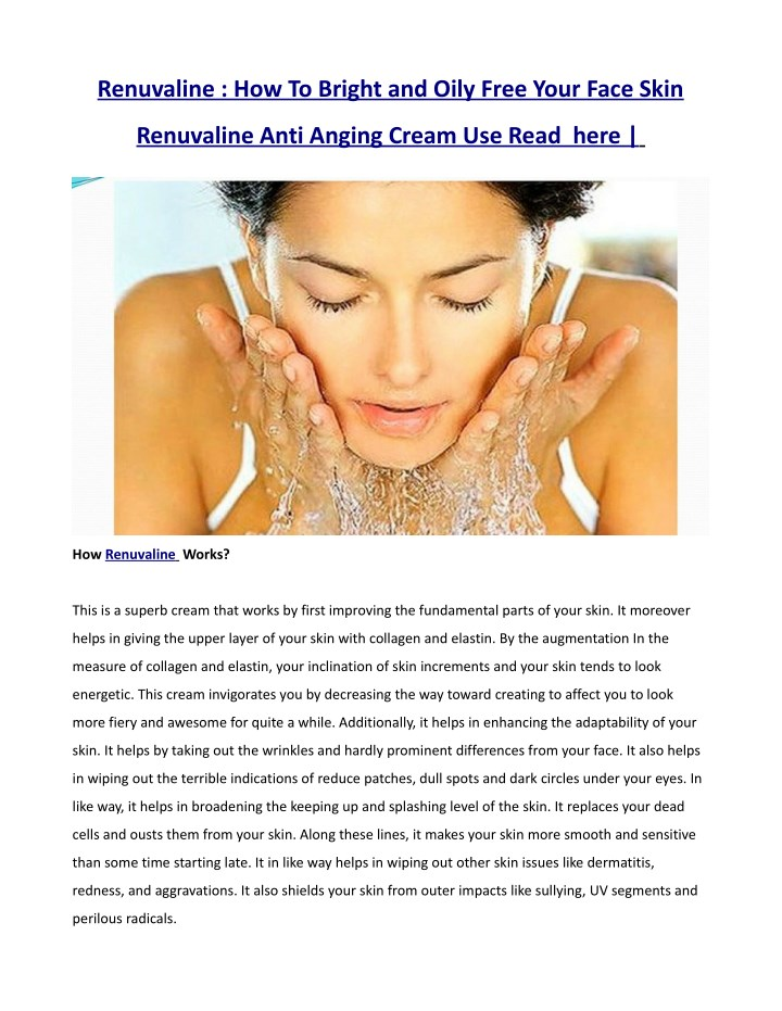 renuvaline how to bright and oily free your face n.