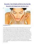 renuvaline how to bright and oily free your face