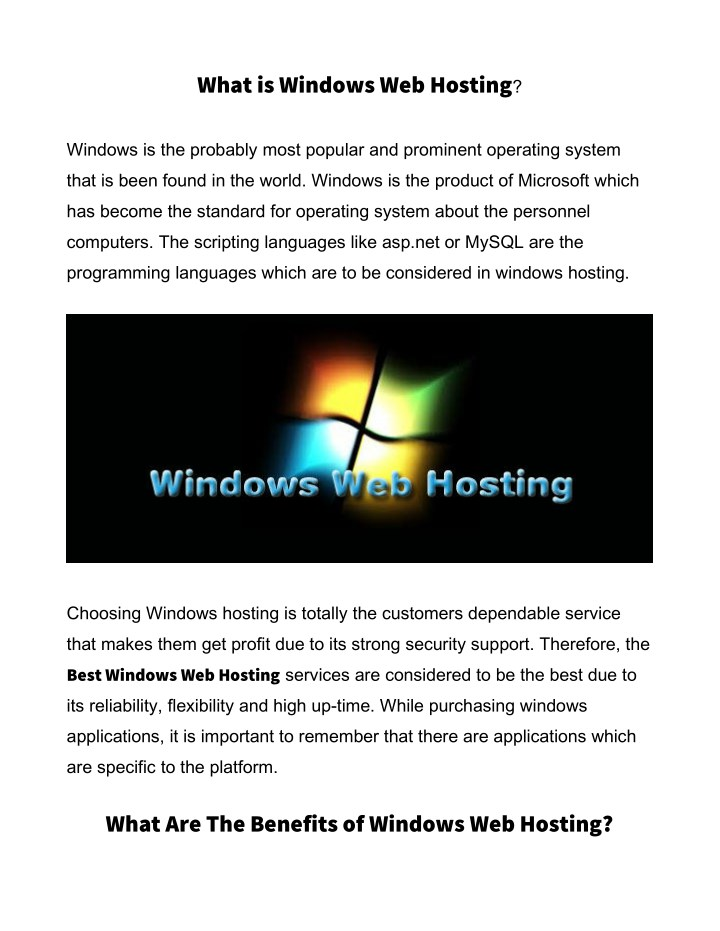 what is windows web hosting n.