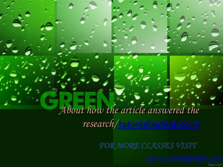 about how the article answered the research tutorialoutletdotcom n.