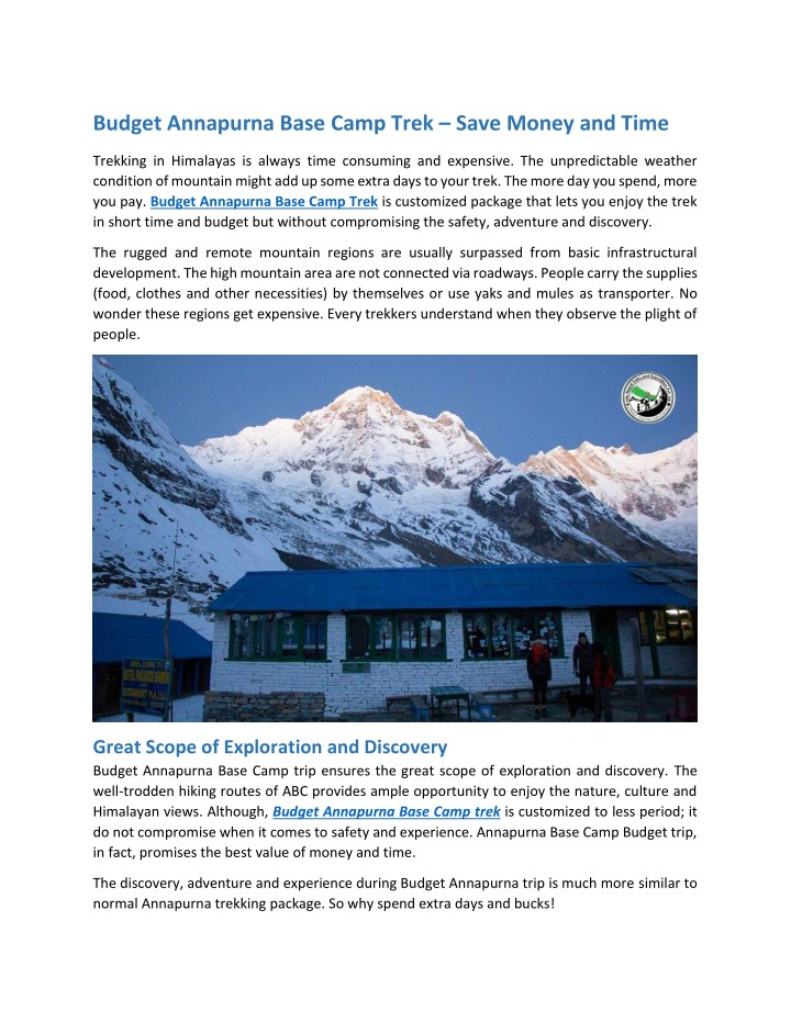 budget annapurna base camp trek save money n.