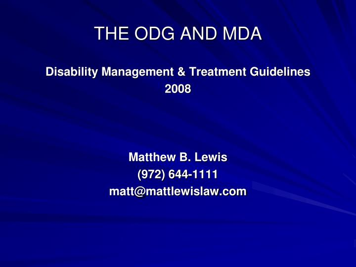 the odg and mda n.