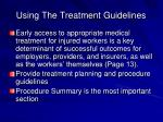 using the treatment guidelines