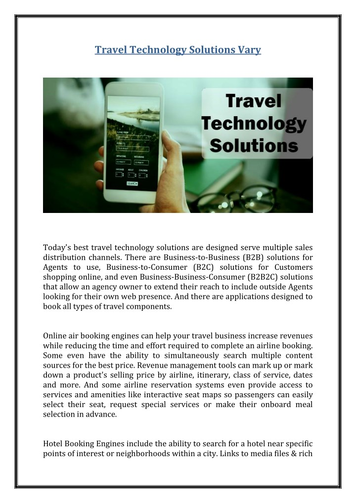 travel technology solutions vary n.