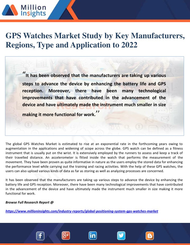 gps watches market study by key manufacturers n.