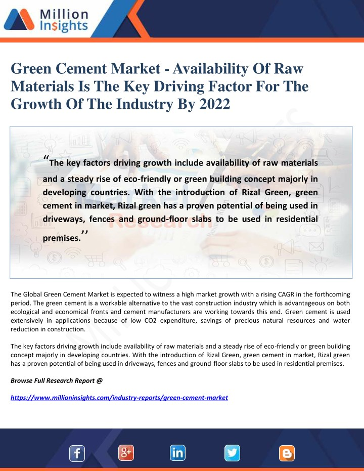 green cement market availability of raw materials n.
