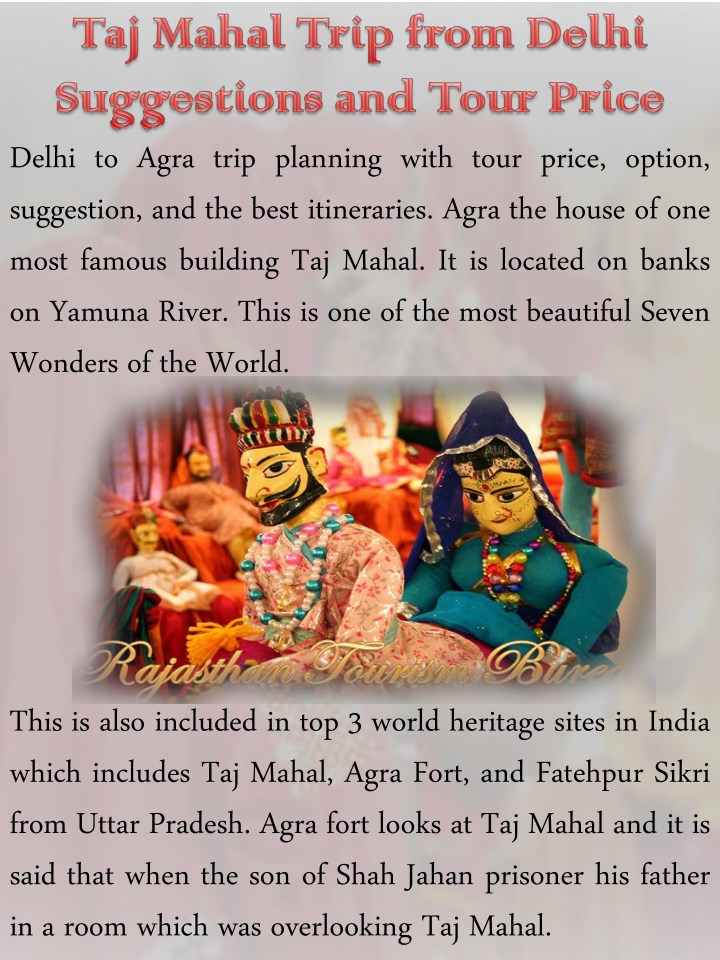 delhi to agra trip planning with tour price n.