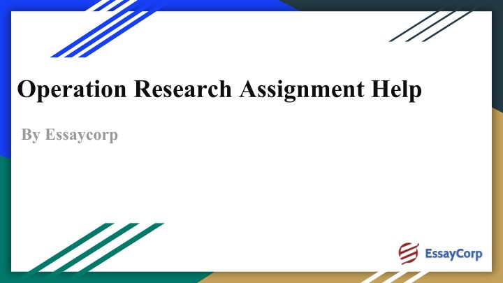 operation research assignment help n.