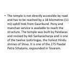 the temple is not directly accessible by road