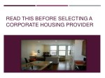 read this before selecting a corporate housing