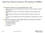 india tax recent trends in pe taxation of mncs