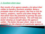 3 excellent client base past results of an agency