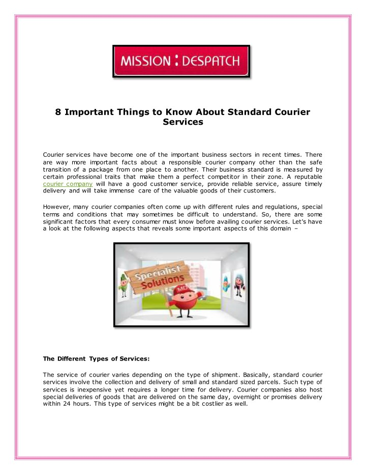 8 important things to know about standard courier n.