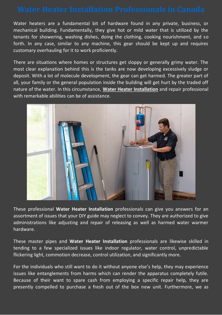 water heater installation professionals in canada n.