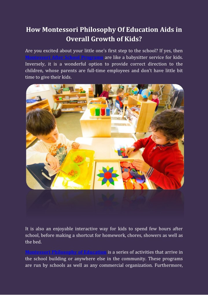 how montessori philosophy of education aids n.