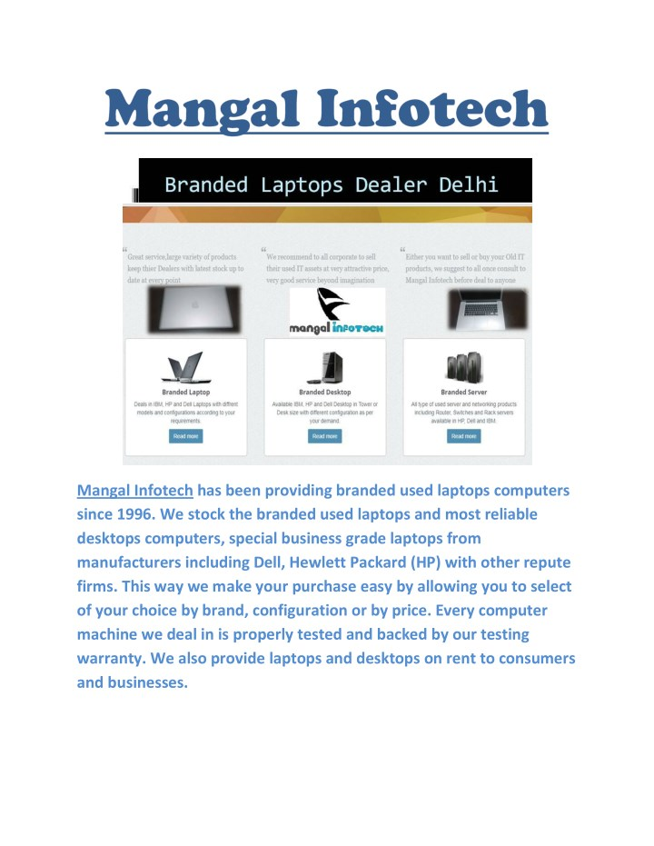 mangal infotech has been providing branded used n.
