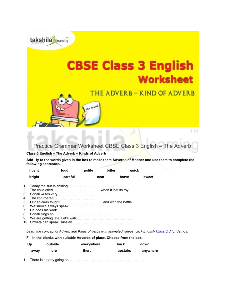 practice grammar worksheet cbse class 3 english n.