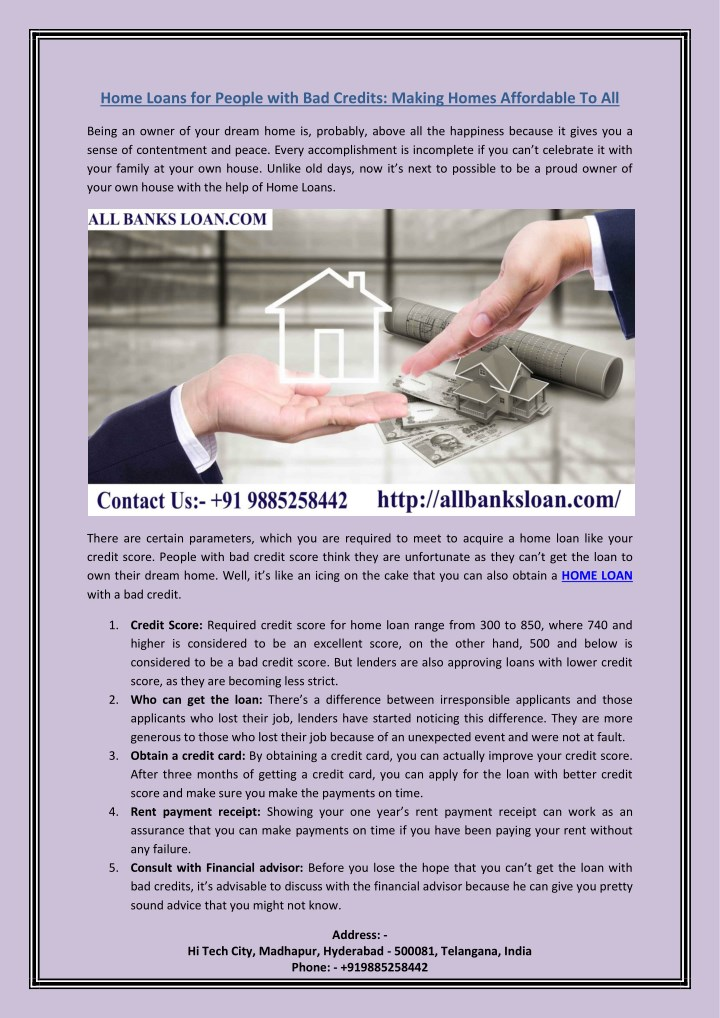 home loans for people with bad credits making n.