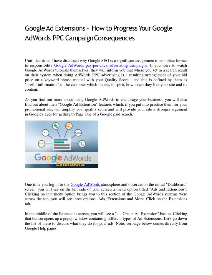 google ad extensions how to progress your google n.