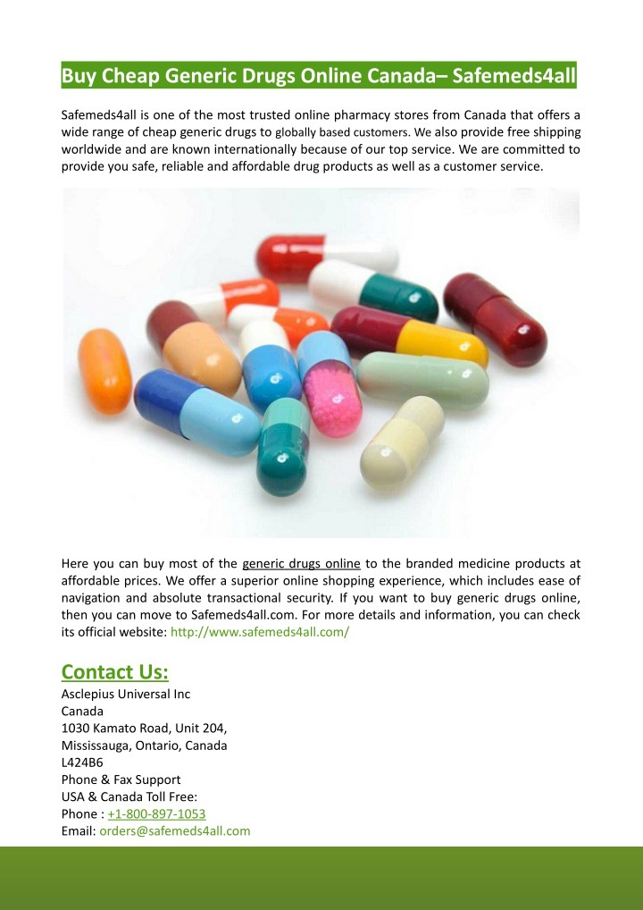 buy cheap generic drugs online canada safemeds4all n.