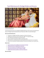tamil matrimony for dindigul brides and grooms