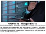 what we do manage it services headquartered