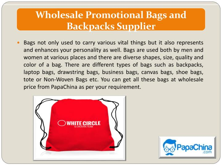 wholesale promotional bags and backpacks supplier n.