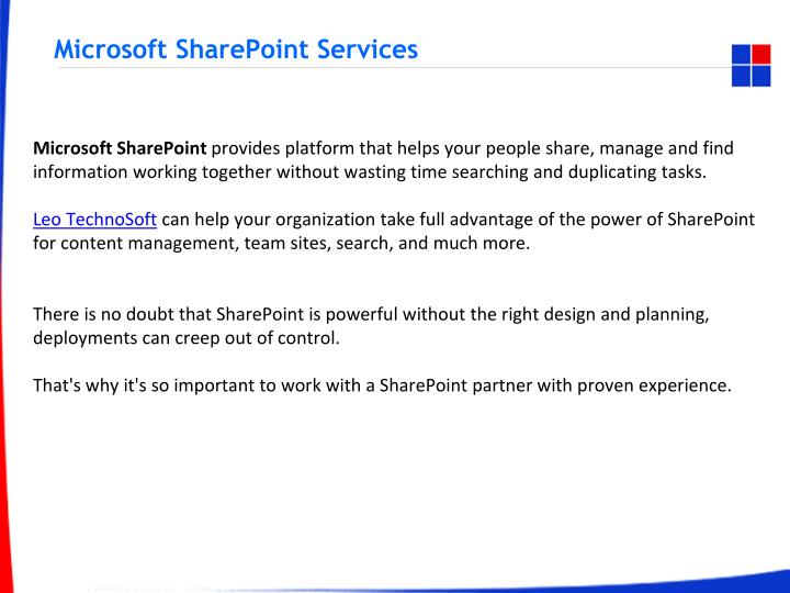 microsoft sharepoint services n.