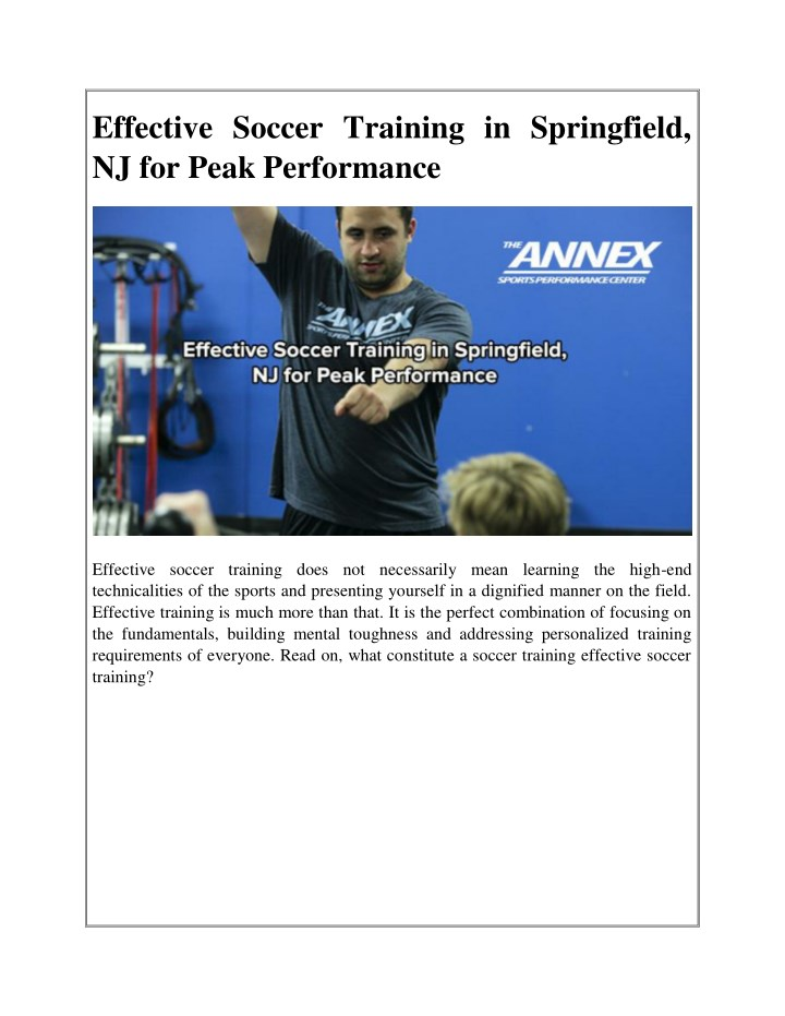 effective soccer training in springfield n.