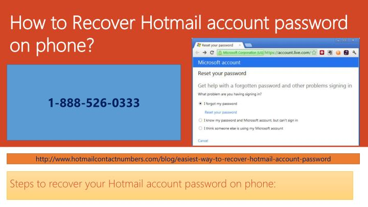 how to recover hotmail account password on phone n.
