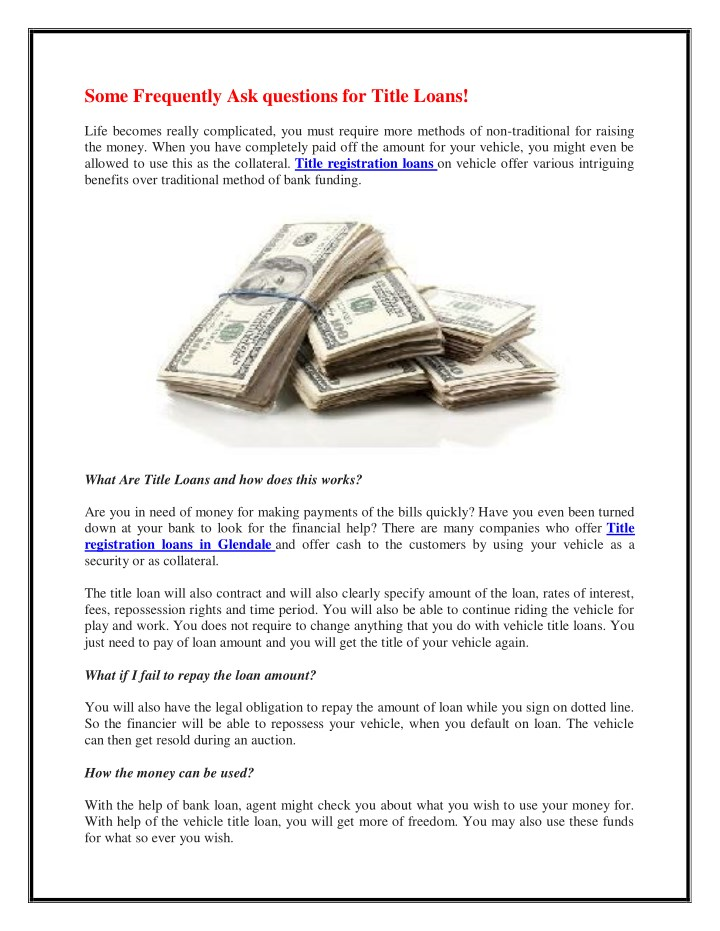 some frequently ask questions for title loans n.