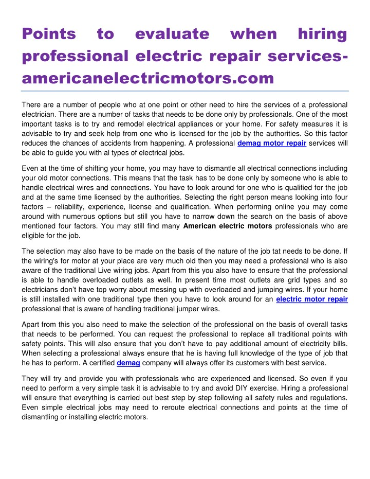 points professional electric repair services n.