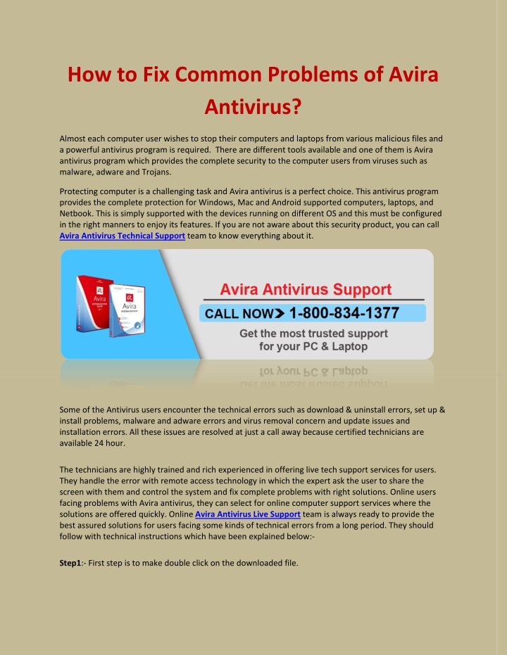how to fix common problems of avira antivirus n.
