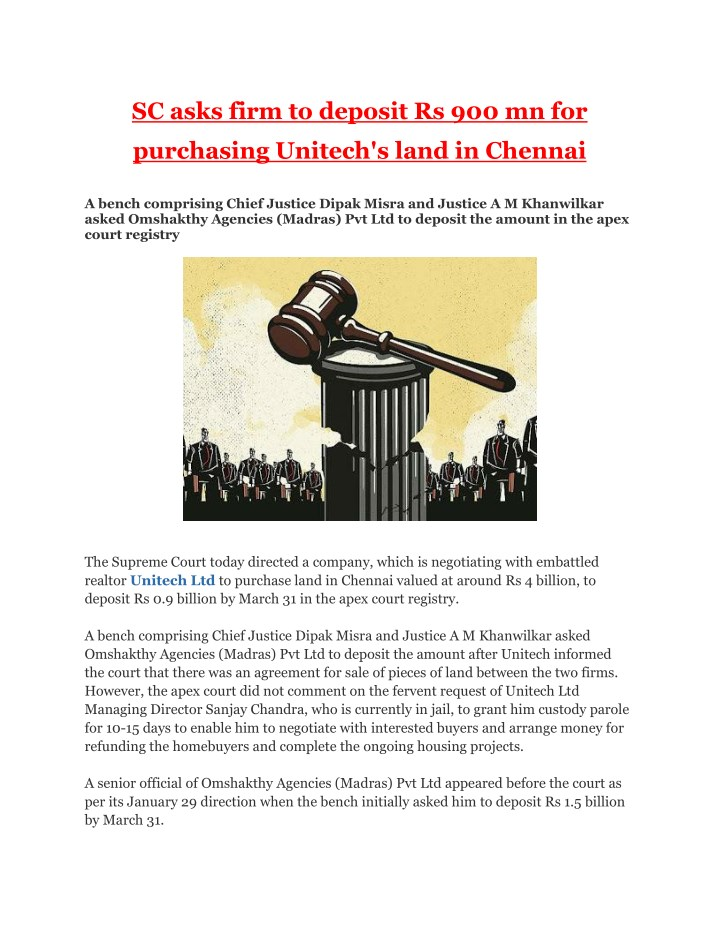 sc asks firm to deposit rs 900 mn for n.