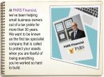 at pars financial we ve been helping small