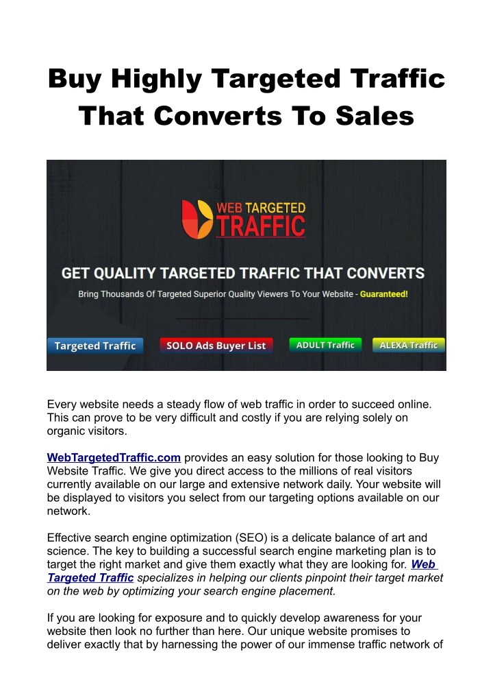buy highly targeted traffic that converts to sales n.