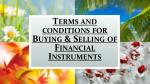 terms and conditions for buying selling of financial instruments