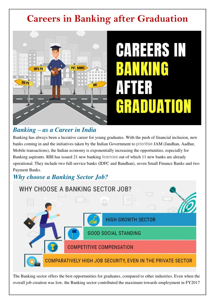 careers in banking after graduation n.